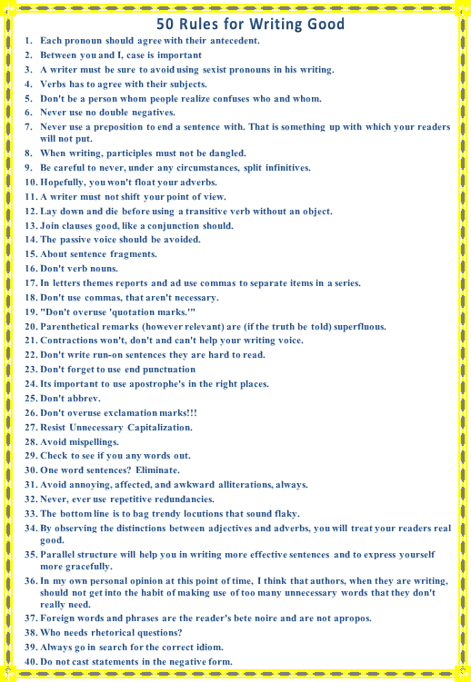 50-rules-for-writing-good